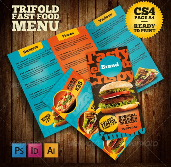 colorful tri fold fast food menu brochure example