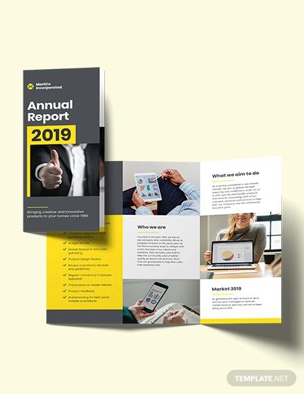 company annual report tri fold brochure template