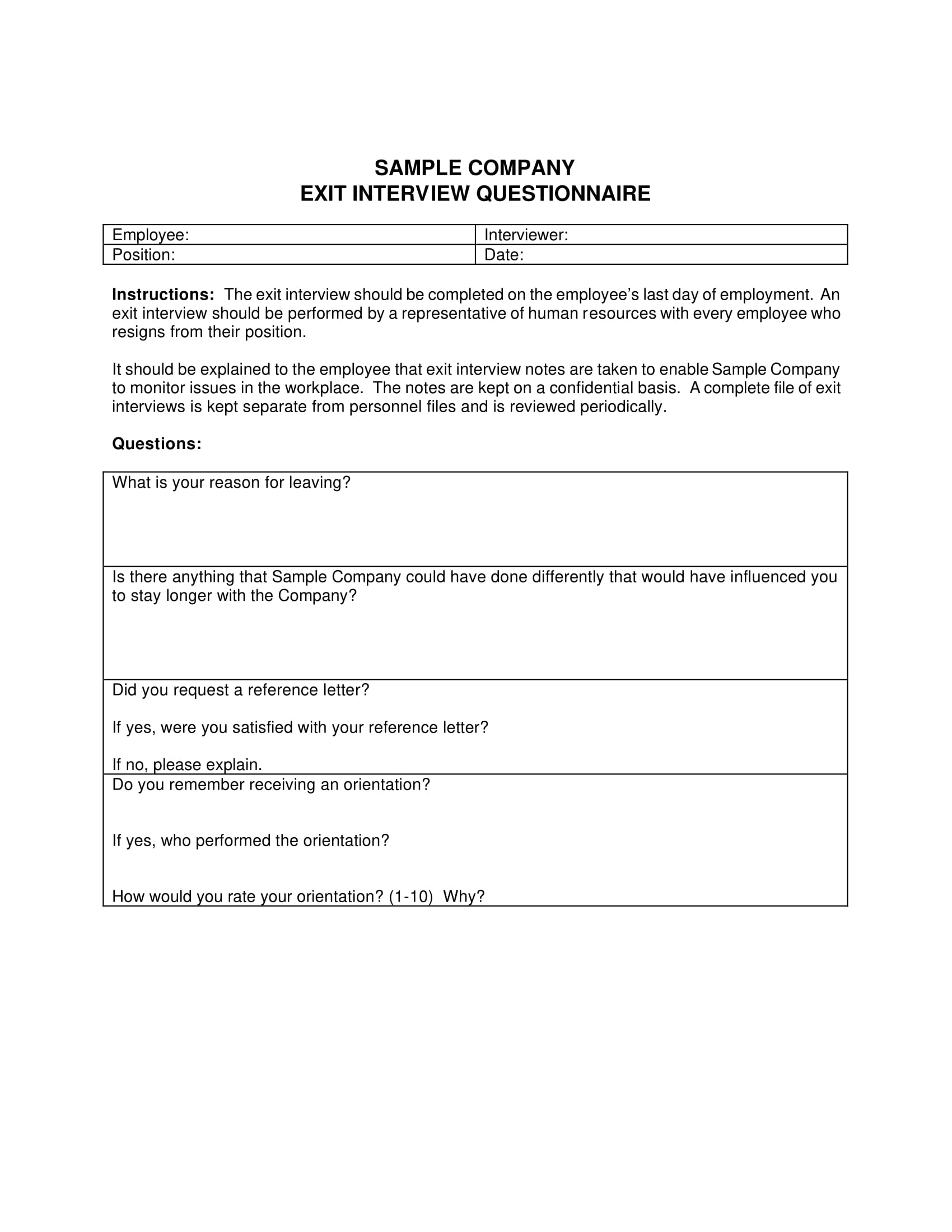 company exit interview questionnaire