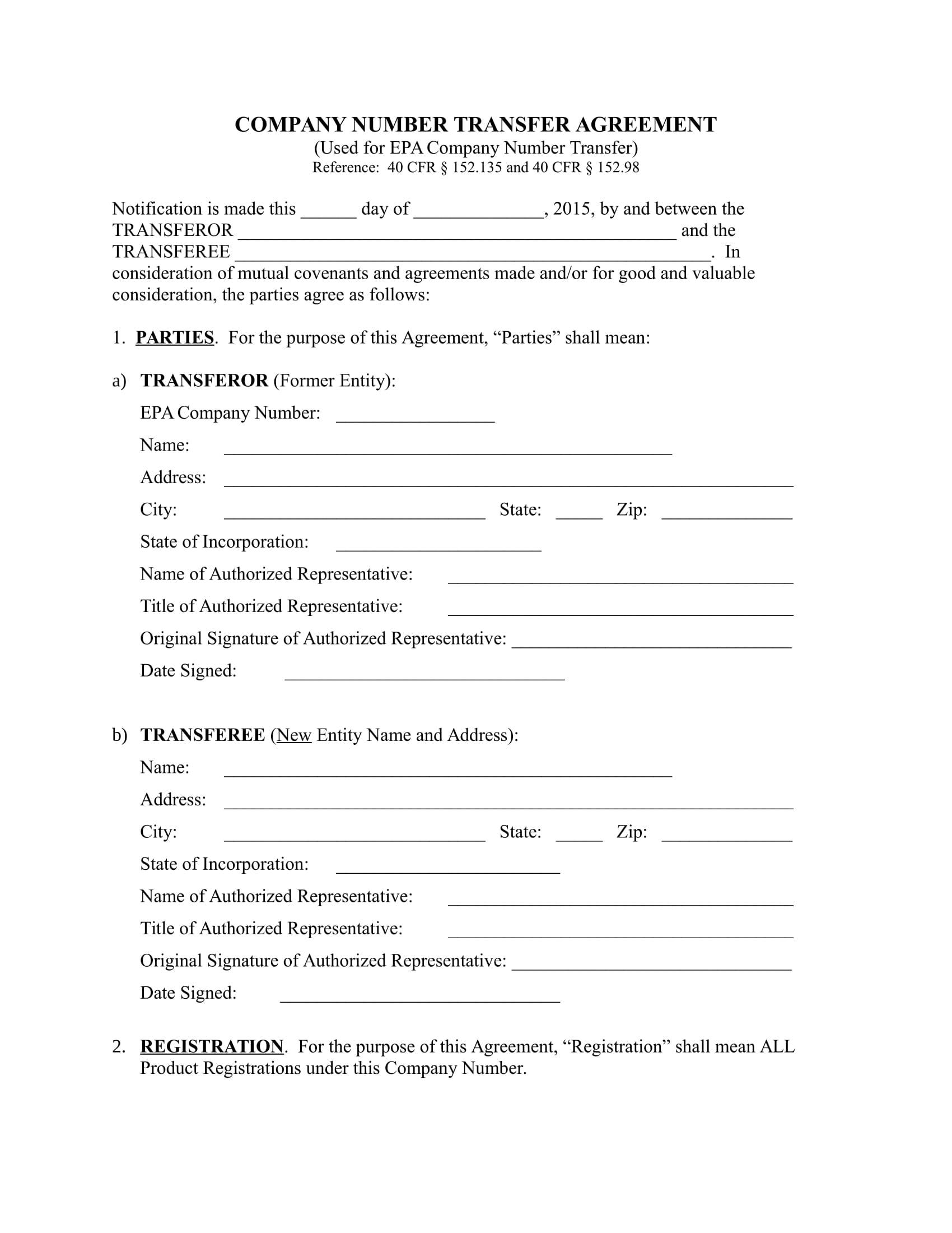 company transfer agreement