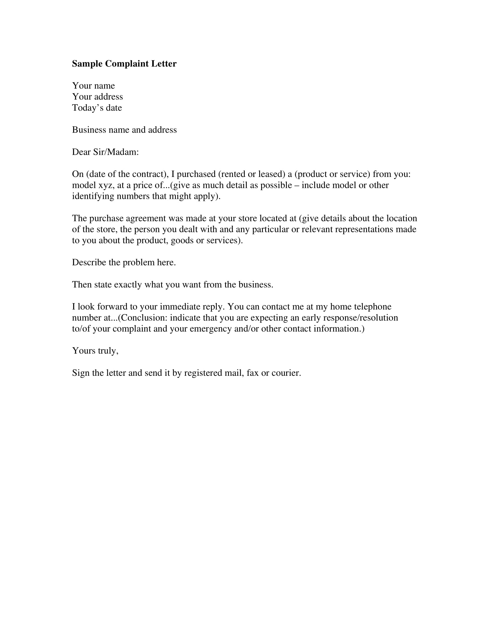 sample claims letter