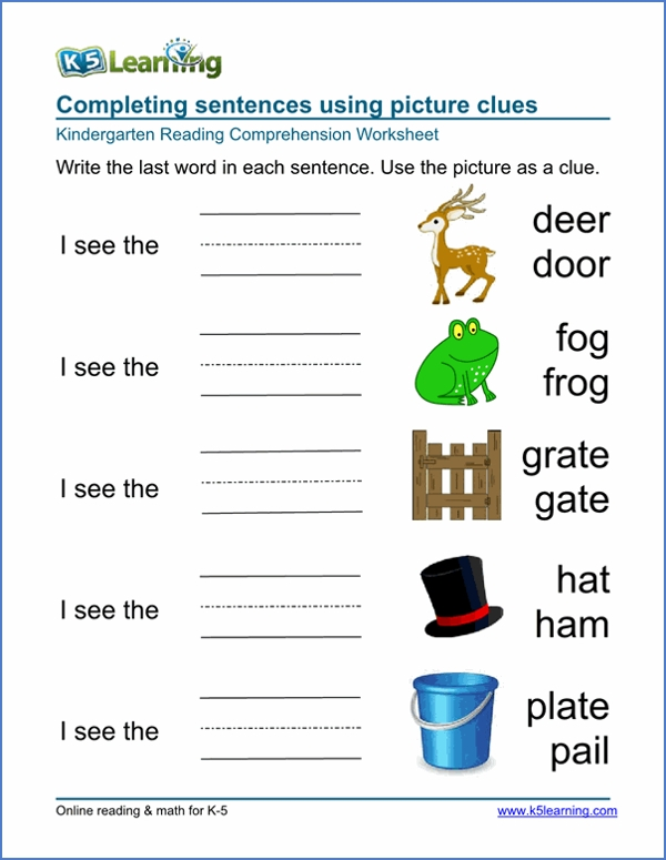 completing sentences using picture clues
