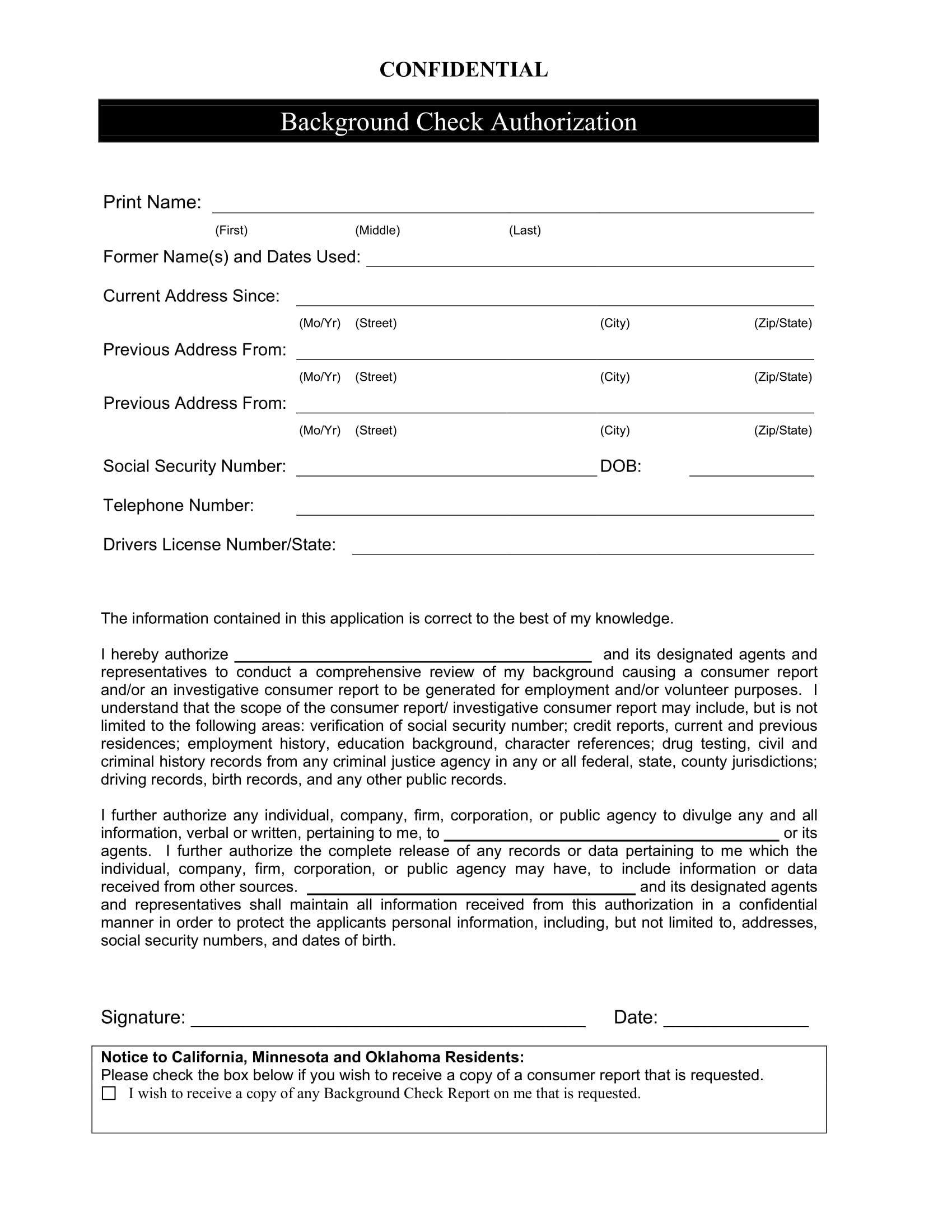 confidential background check authorization form