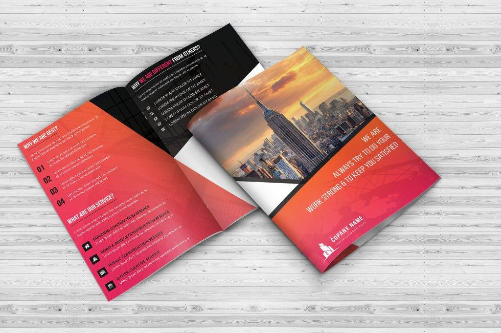 construction bi fold brochure example
