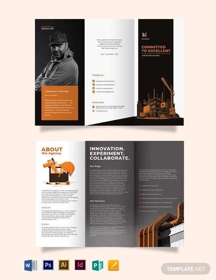 construction company profile tri fold brochure template