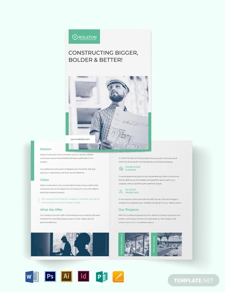 construction firm bi fold brochure template
