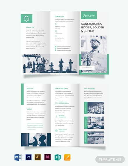 construction firm tri fold brochure template