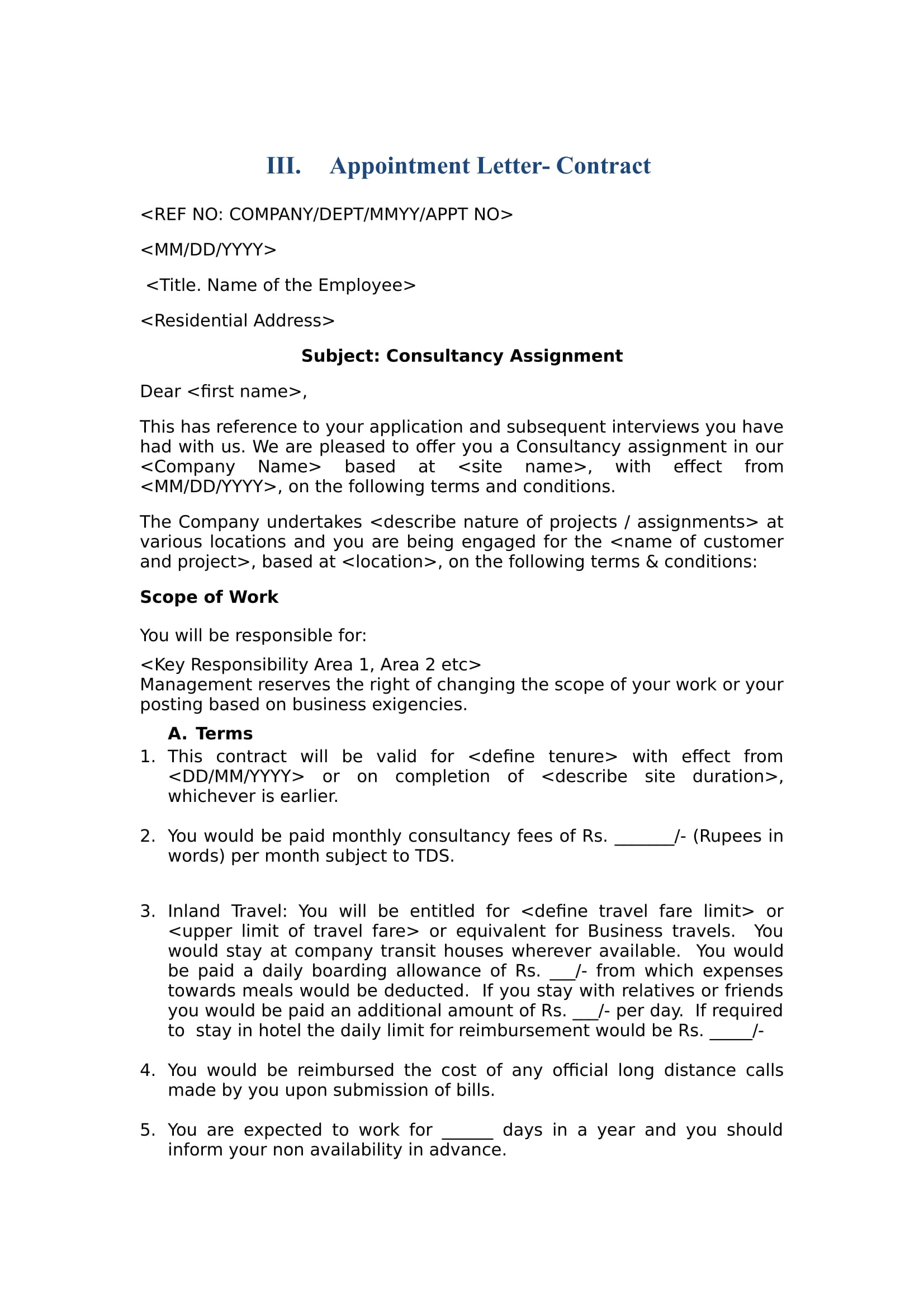 contract appoinment letter