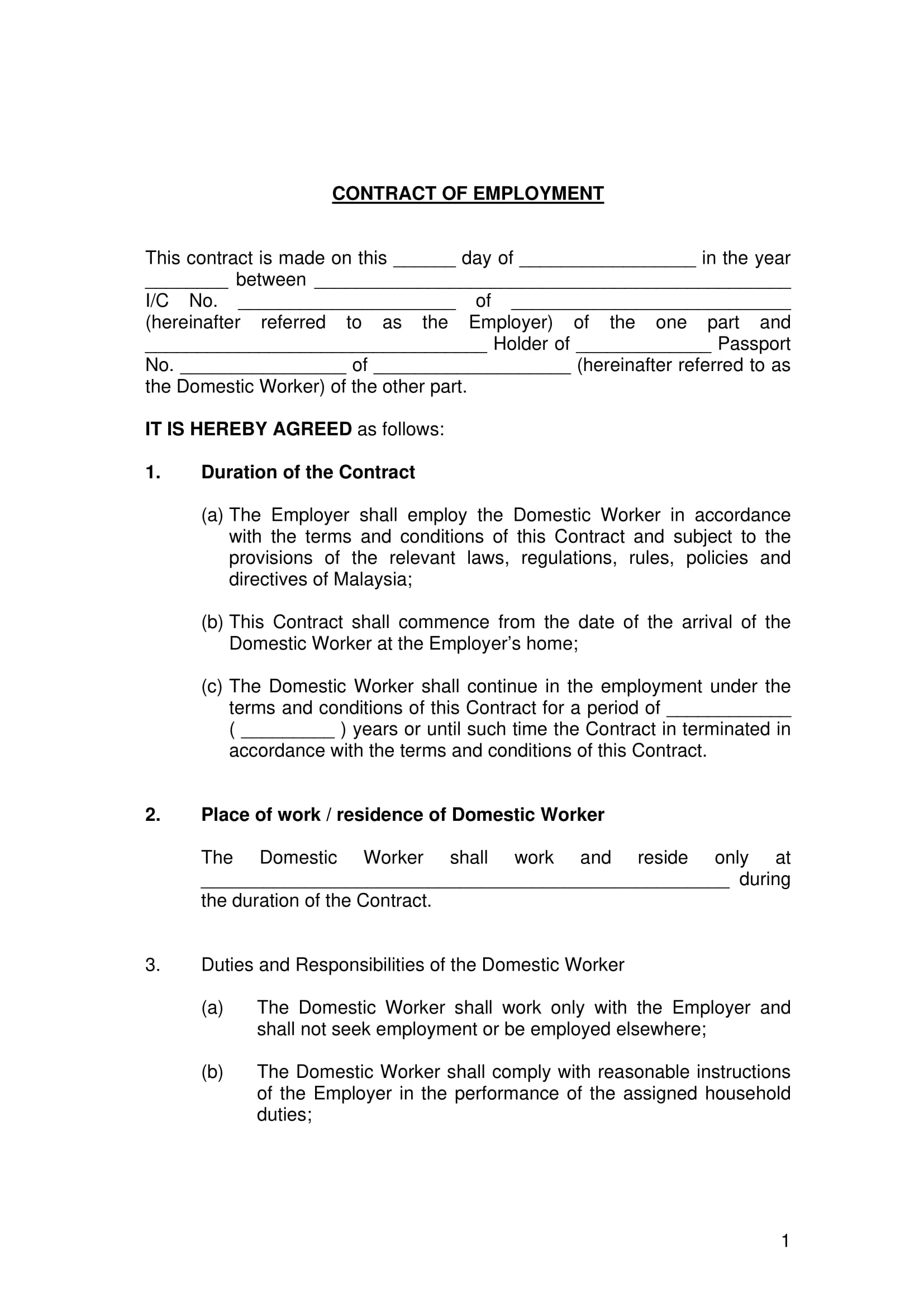 contract of employment template sample