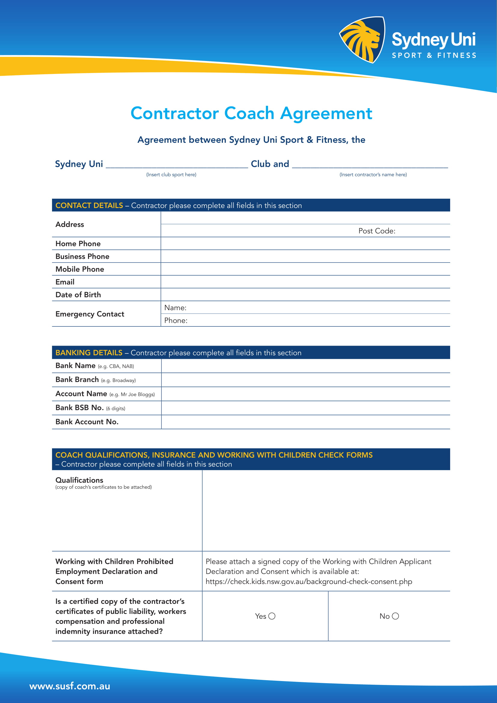 contractor coach agreement