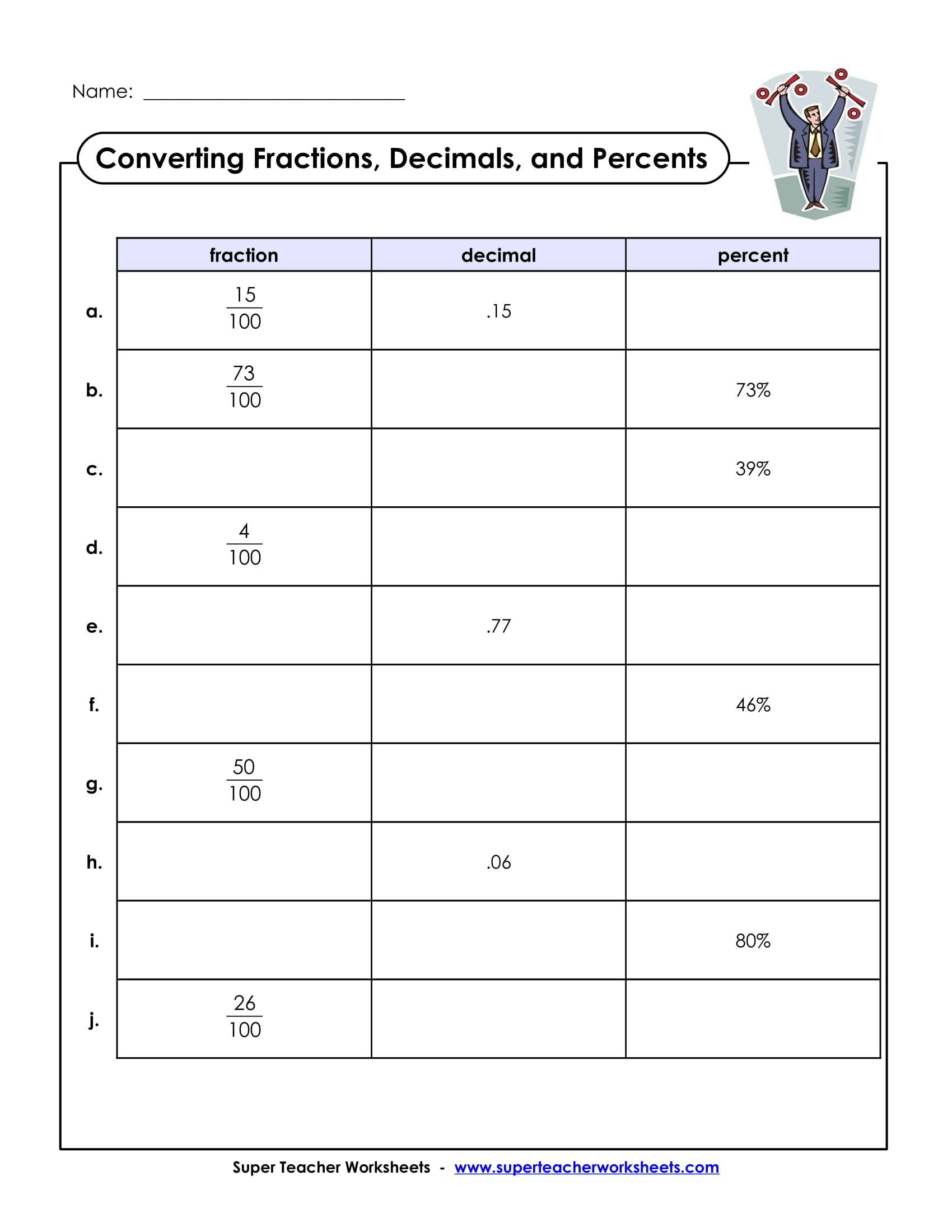 converting fractions decimals and percents sample worksheet