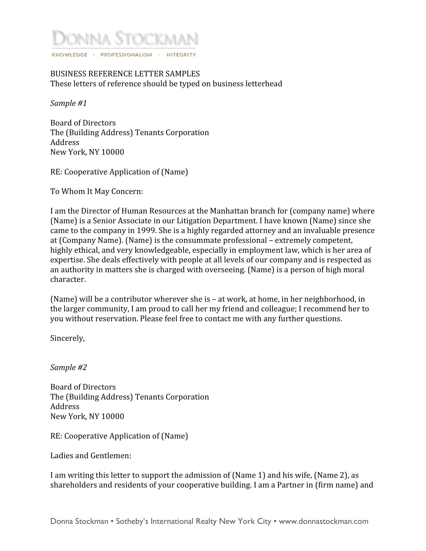 cooperative housing business reference letter example