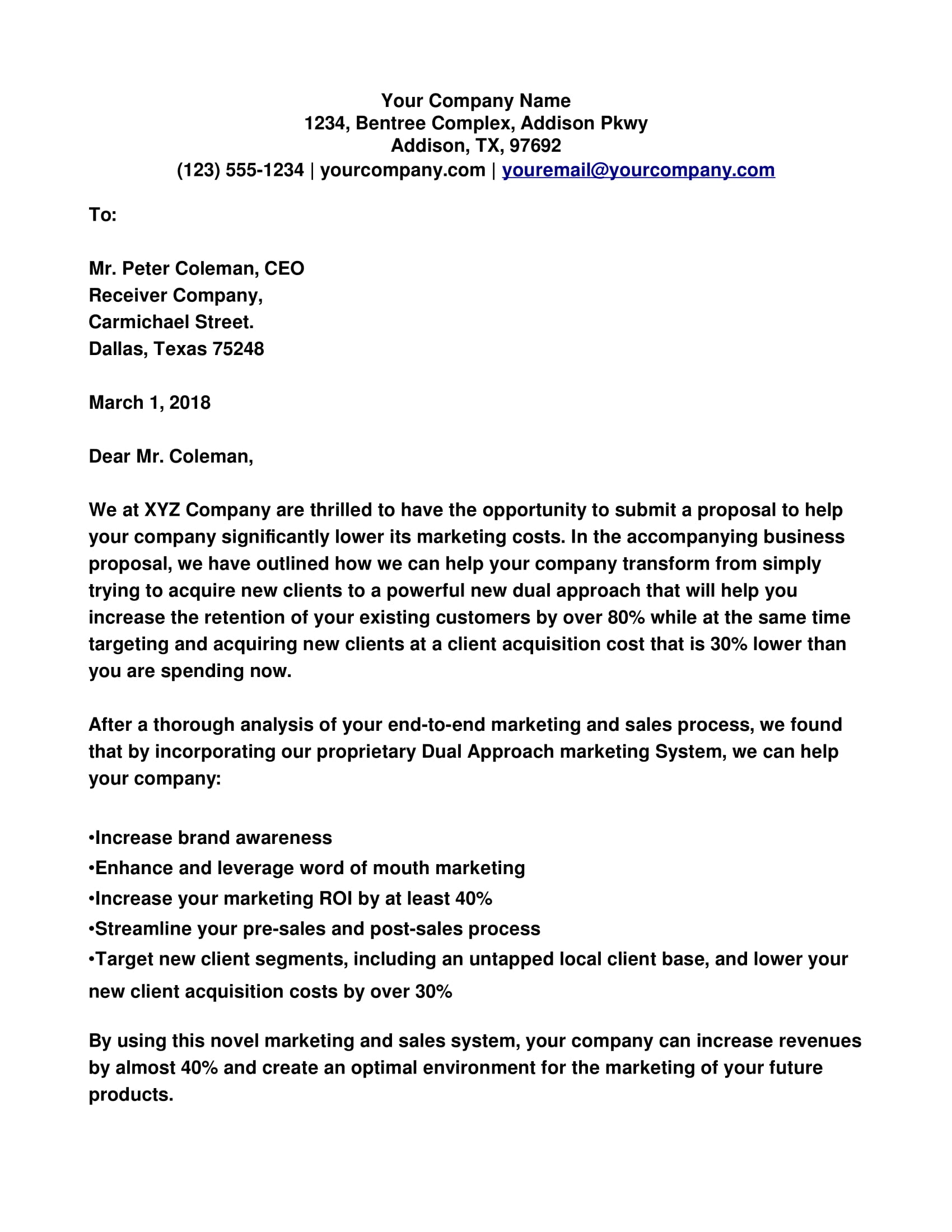 Business Proposal Cover Letter Example