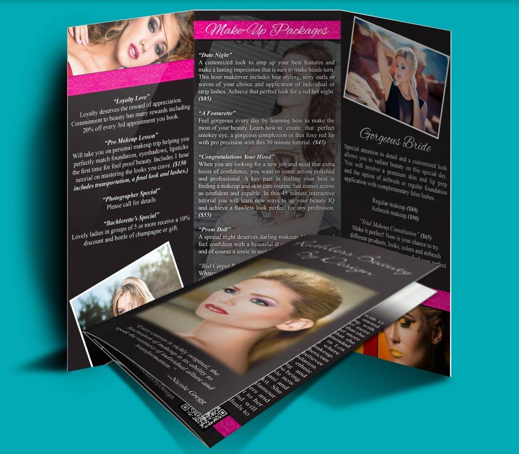 custom designed professional double sided trifold brochure