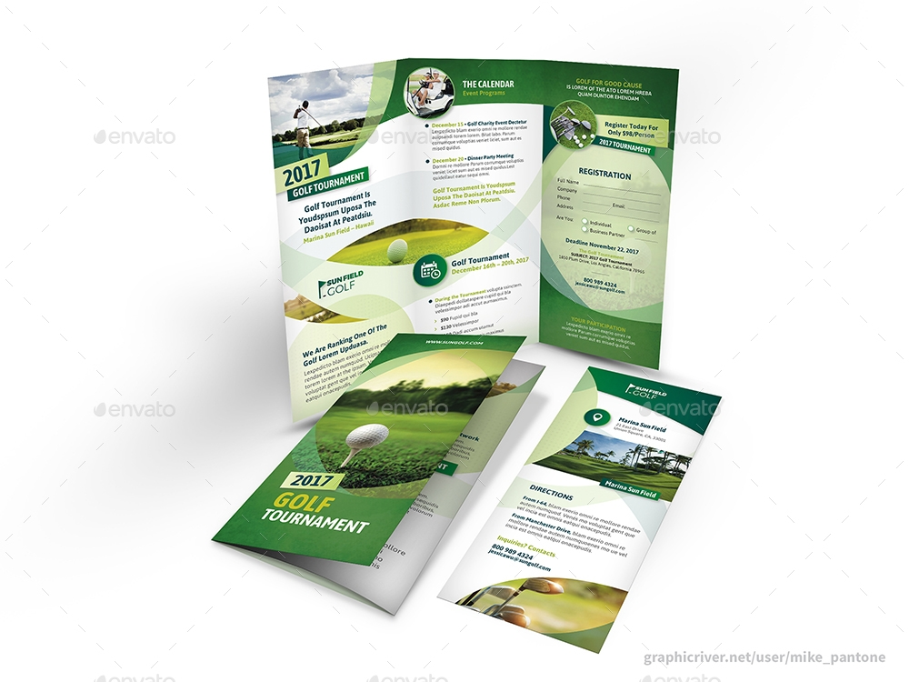 customizable golf trifold brochure