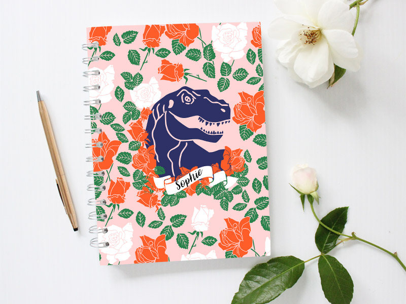 customized dinosaur floral notebook cover