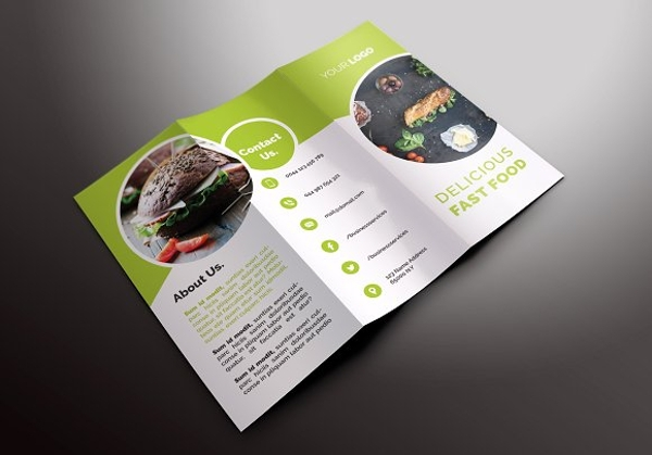 delicious fast food tri fold brochure example