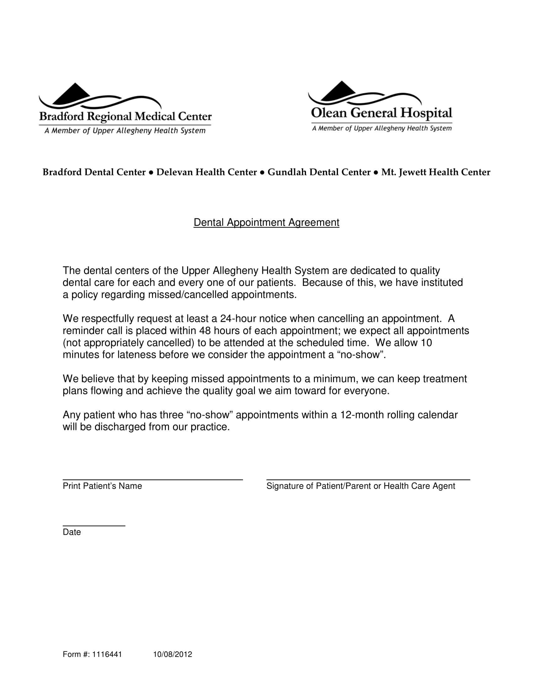 dental appointment response letter example