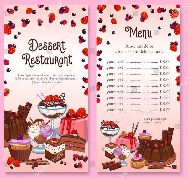 dessert restaurant menu example1