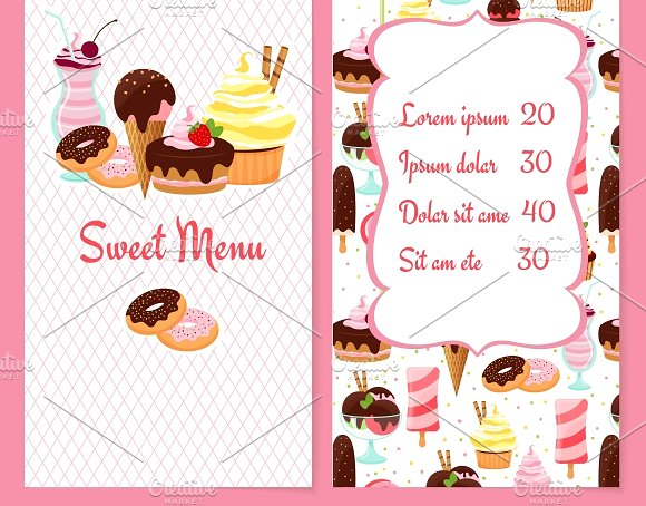 dessert and pastry menu example