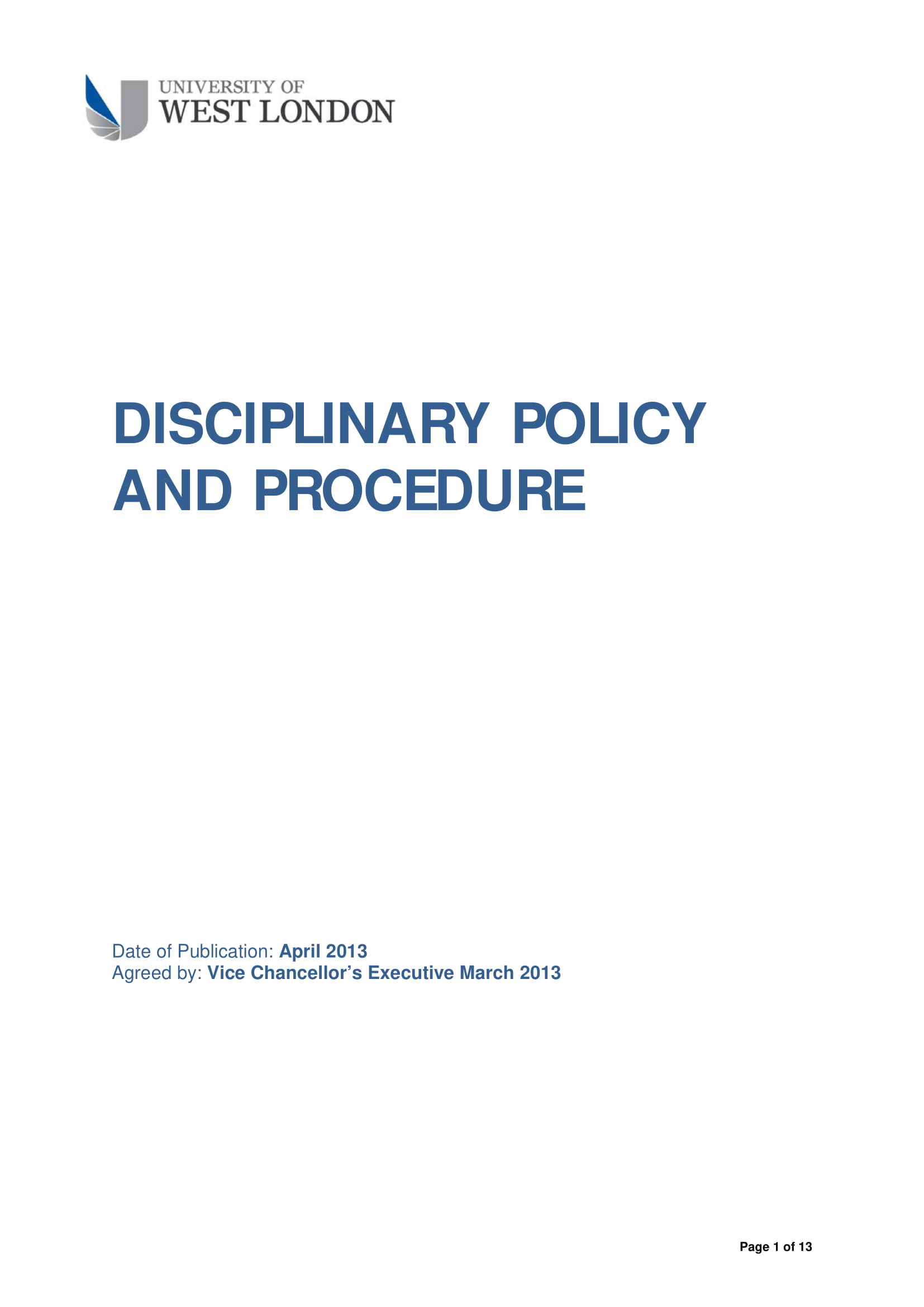 disciplinary policy and procedure example