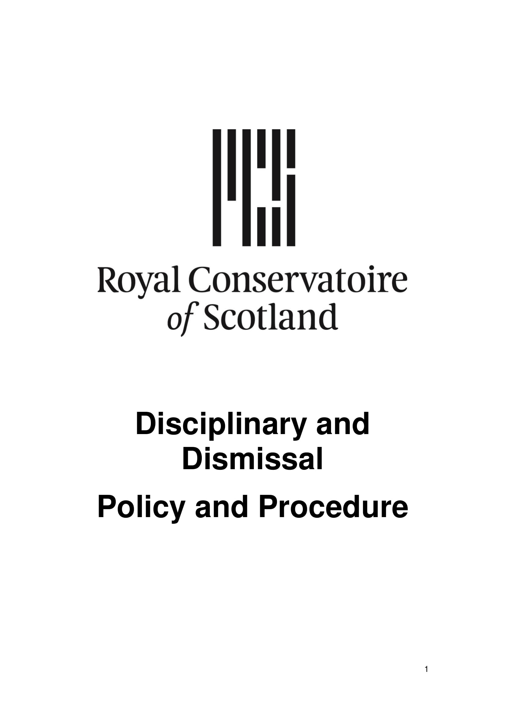 disciplinary and dismissal policy and procedure
