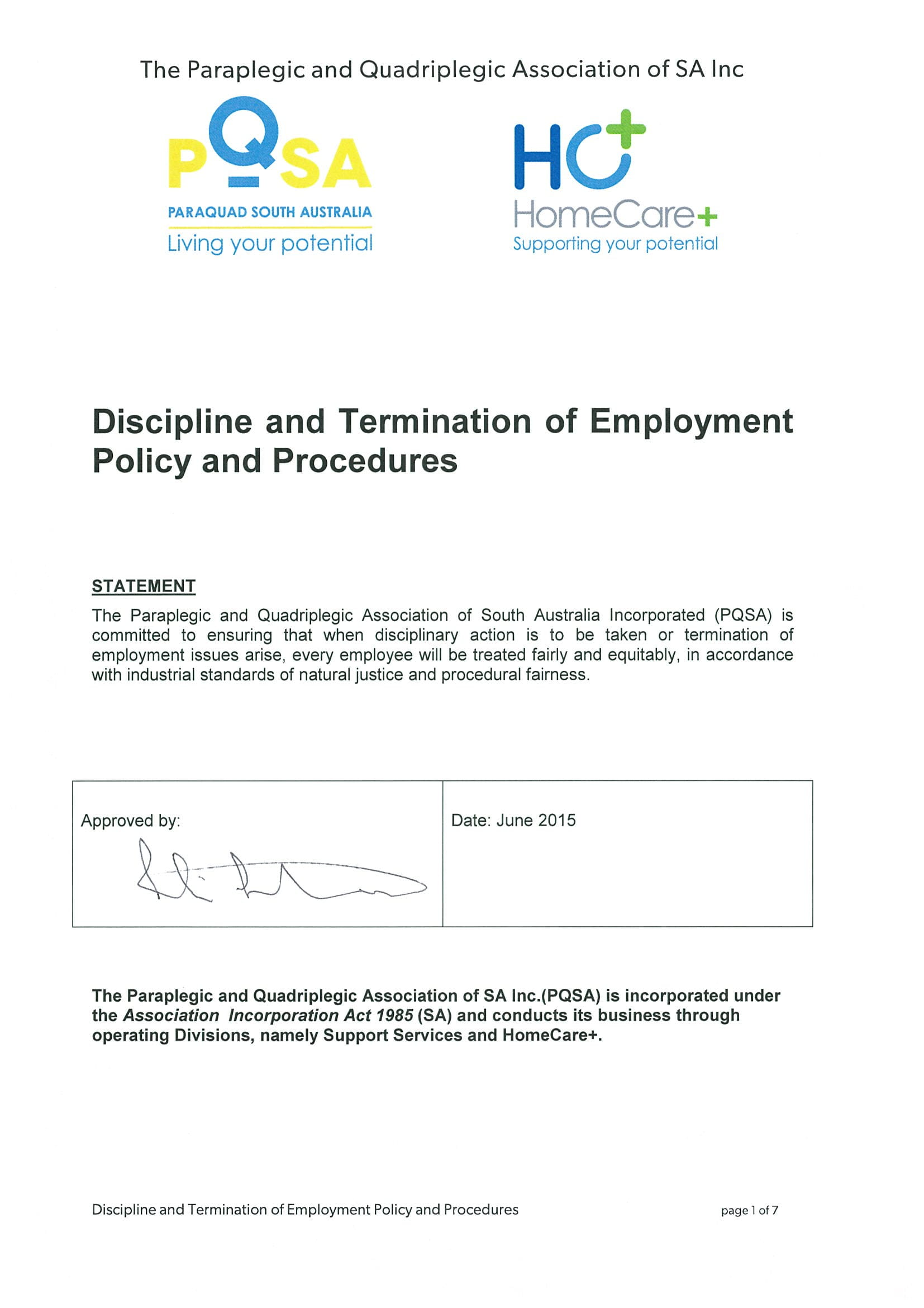 discipline and termination of employment policy and procedures