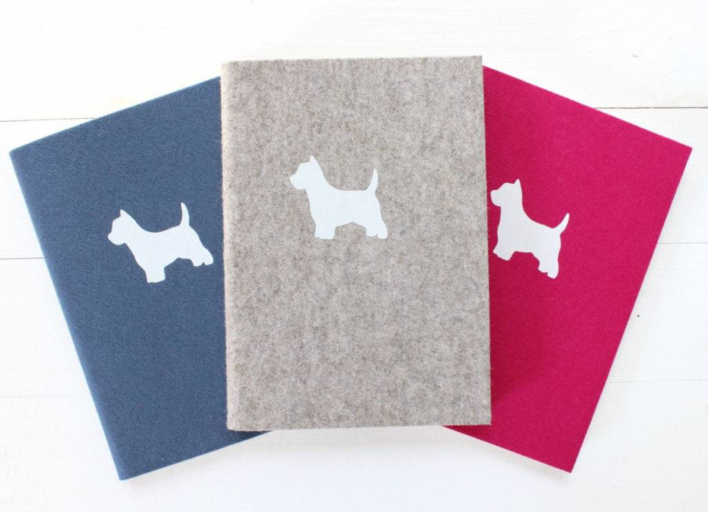 dog design felt notebook cover