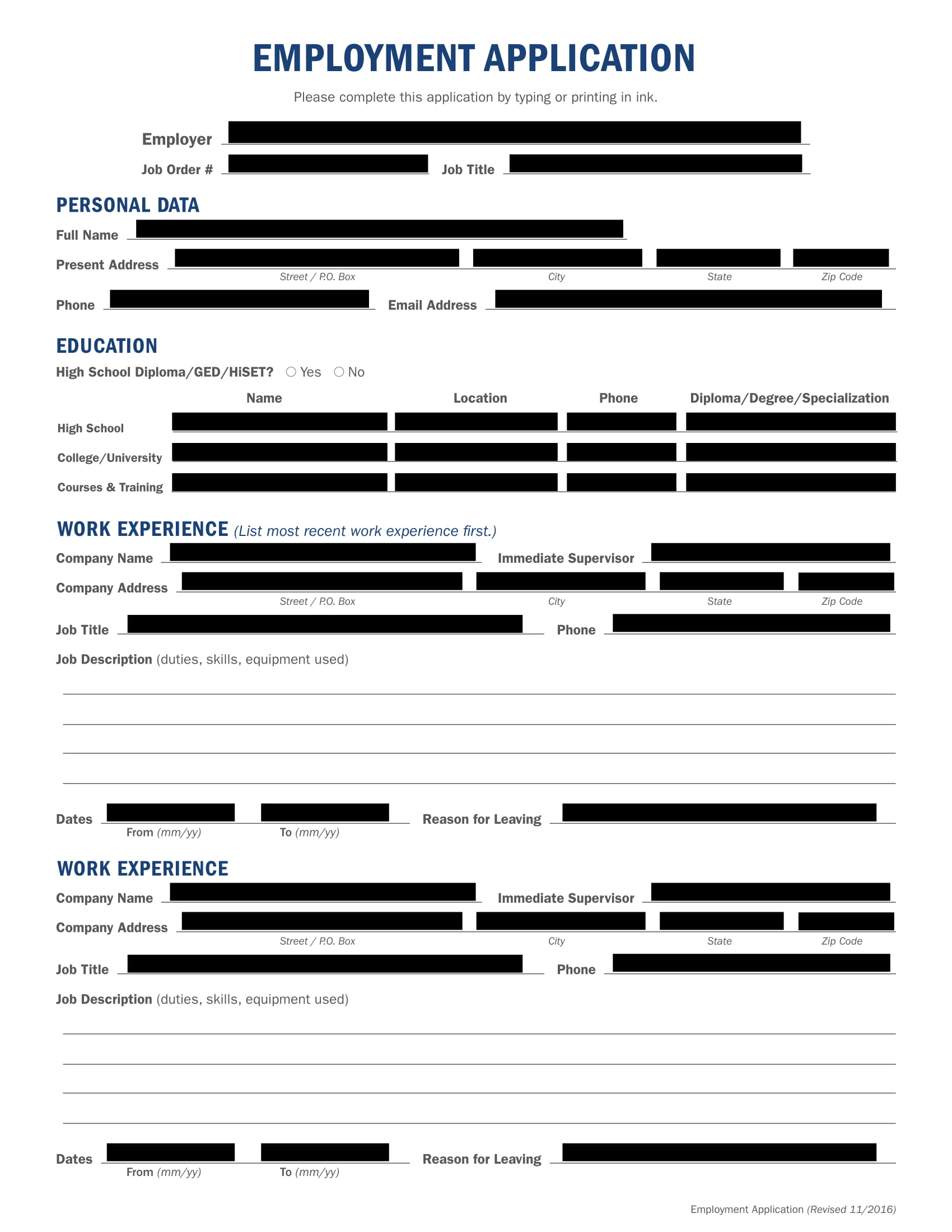 14 employment application form examples pdf