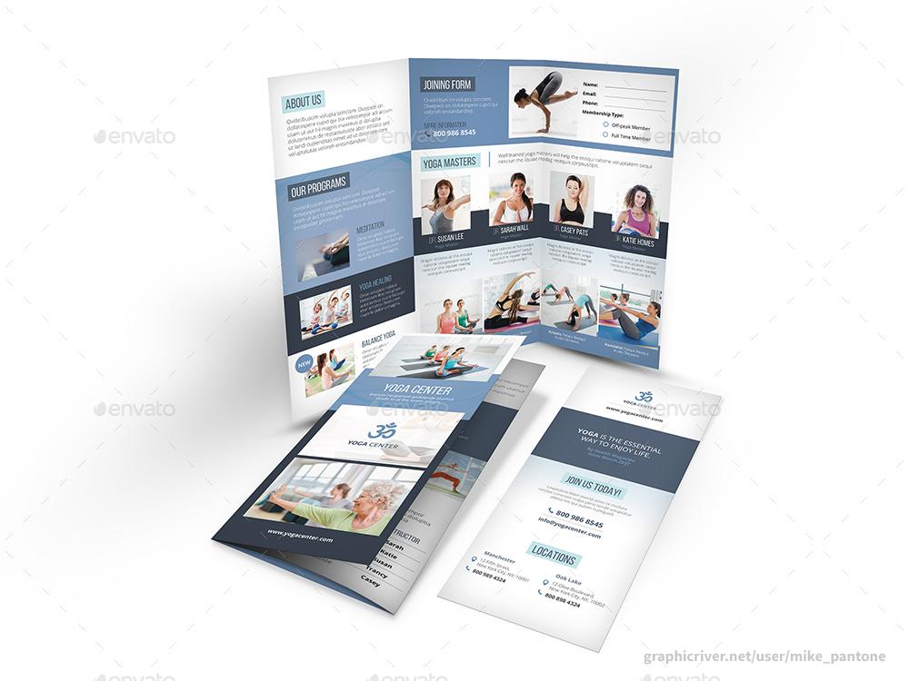 editable yoga studio trifold brochure