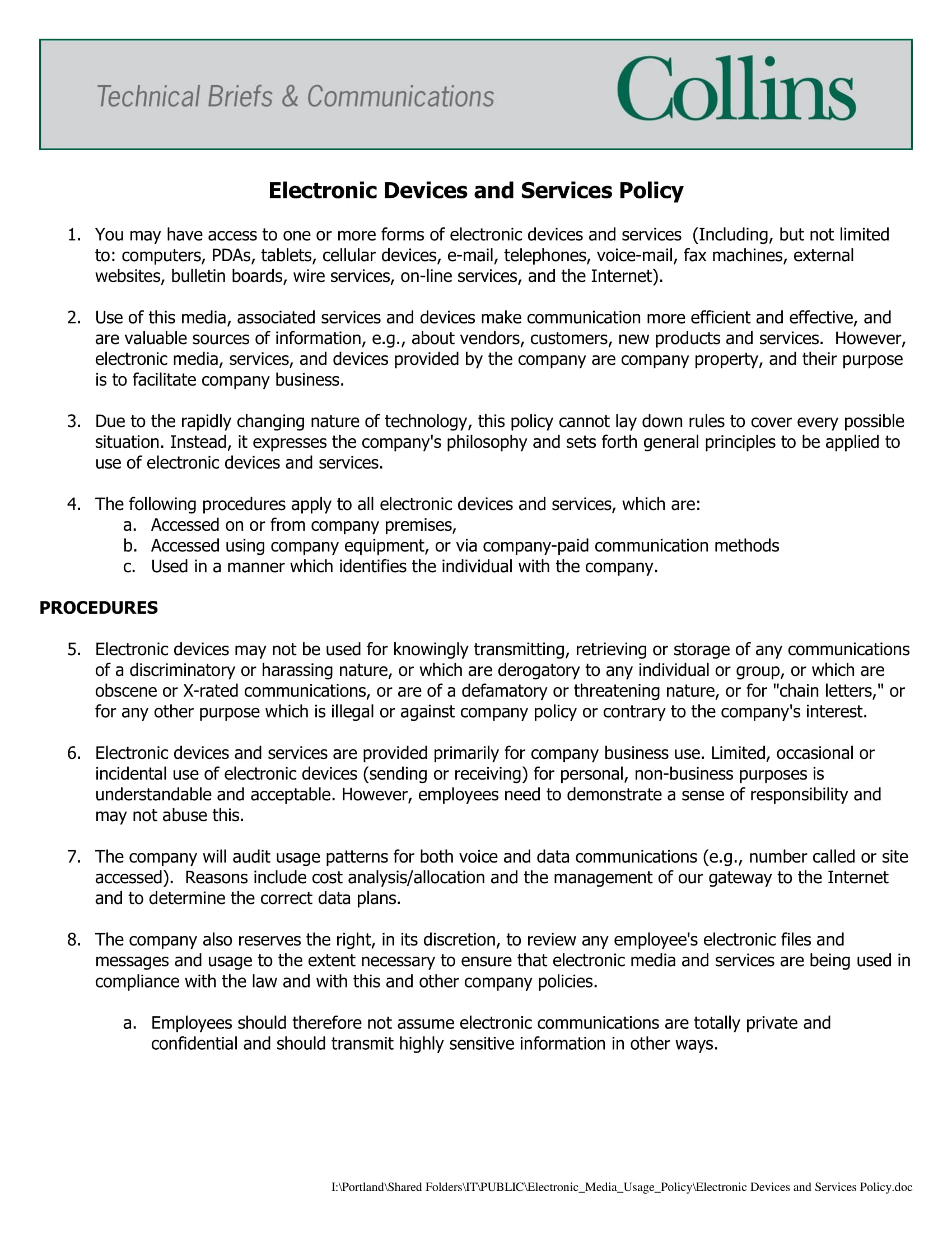 electronic devices and employee email usage policy example