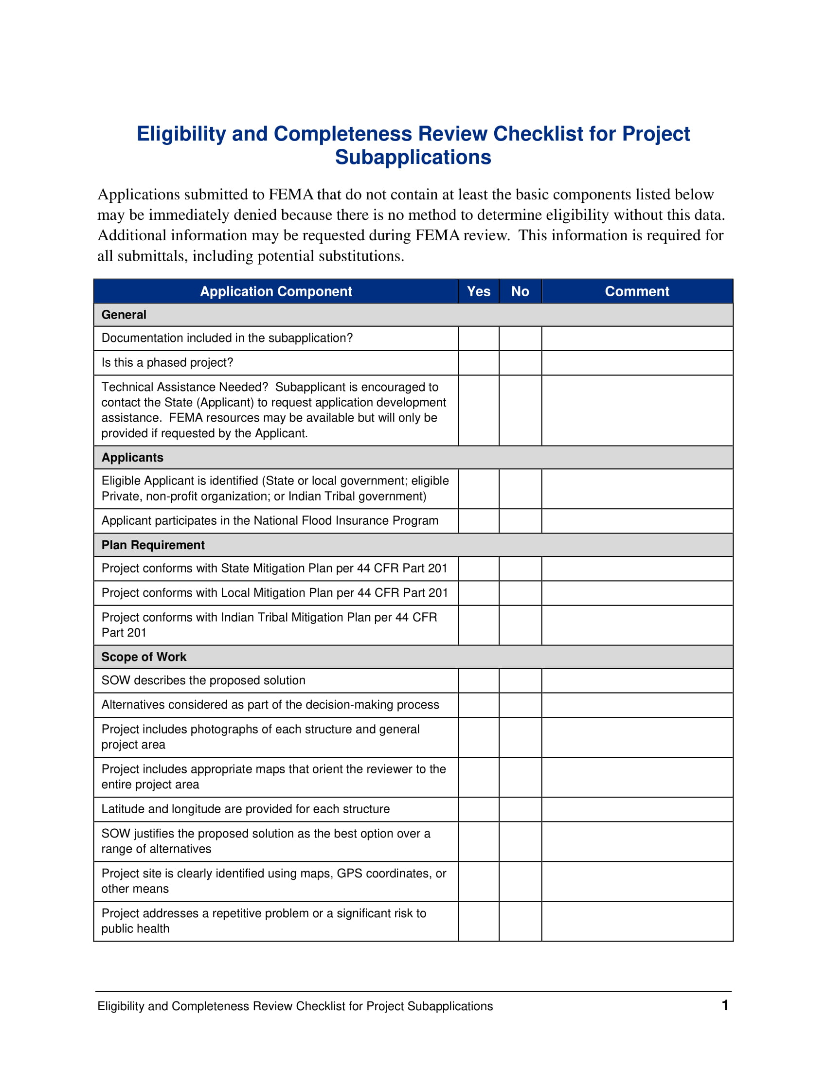 eligibility and completeness review checklist for project requirements