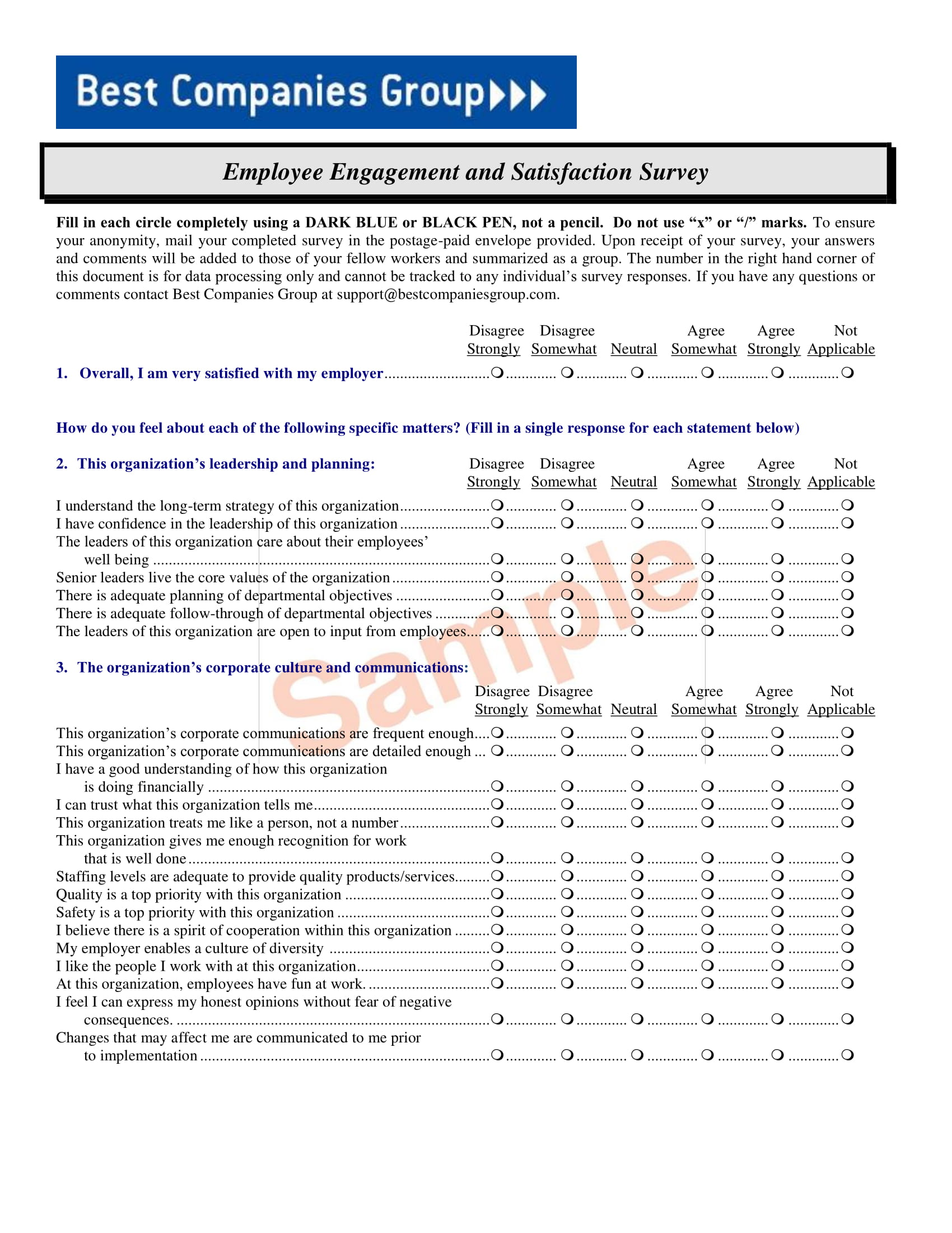 employee engagement and satisfaction survey form