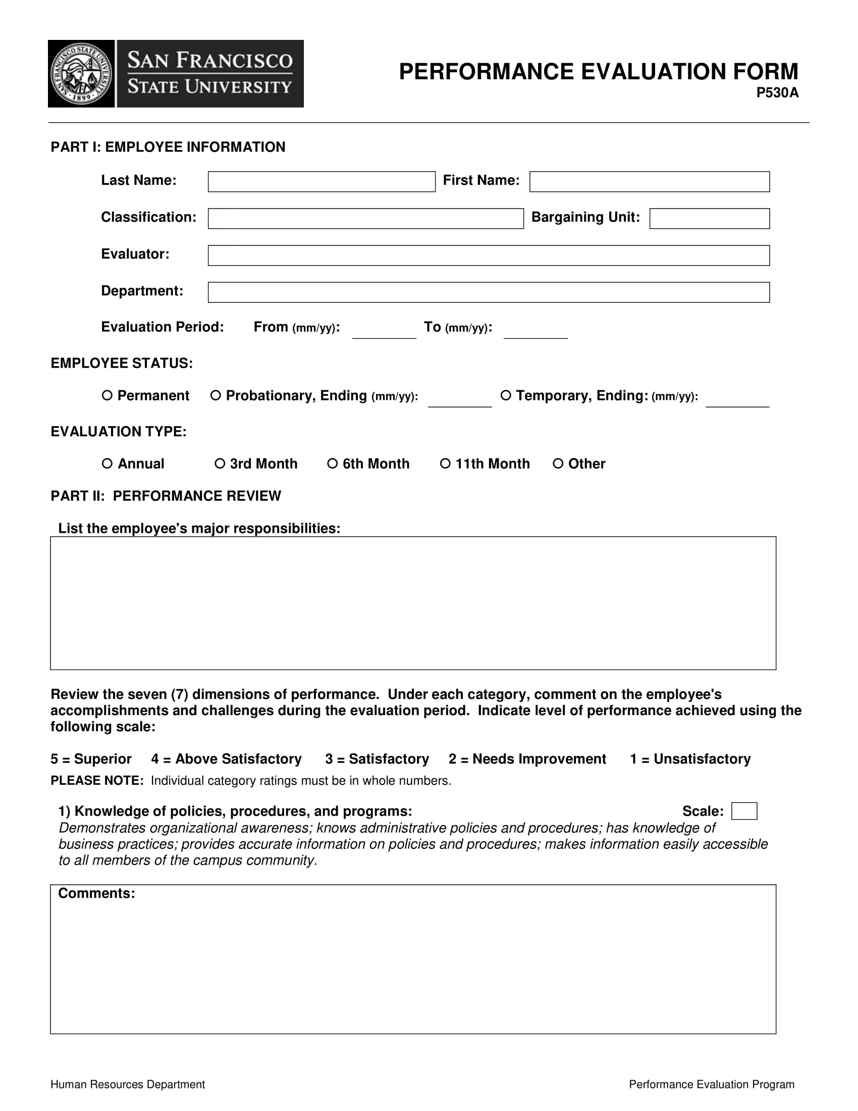 employee performance evaluation form sample