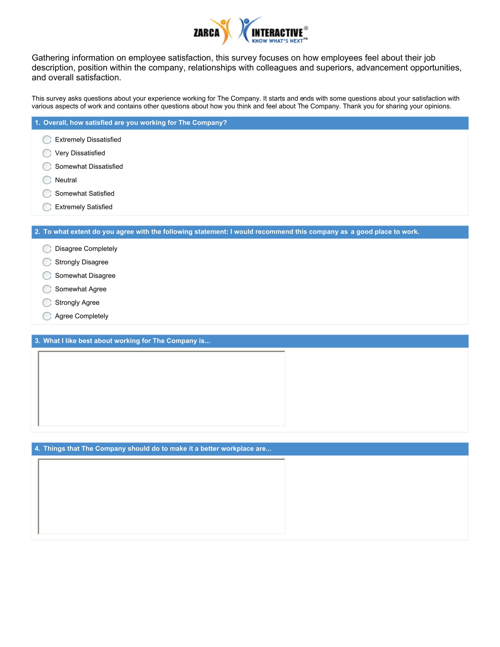 employee satisfaction form example