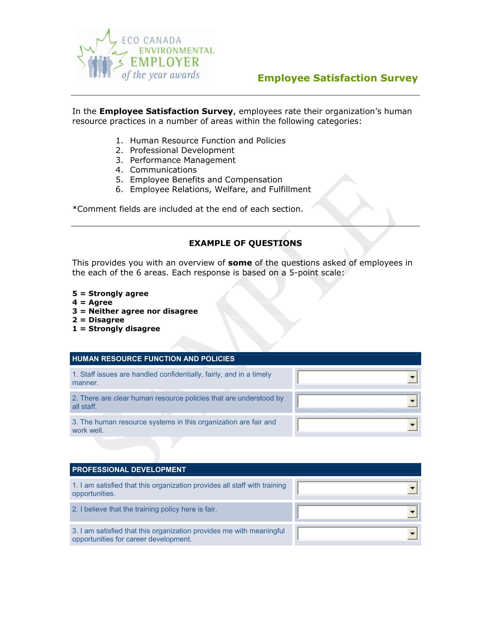 employee satisfaction survey form example