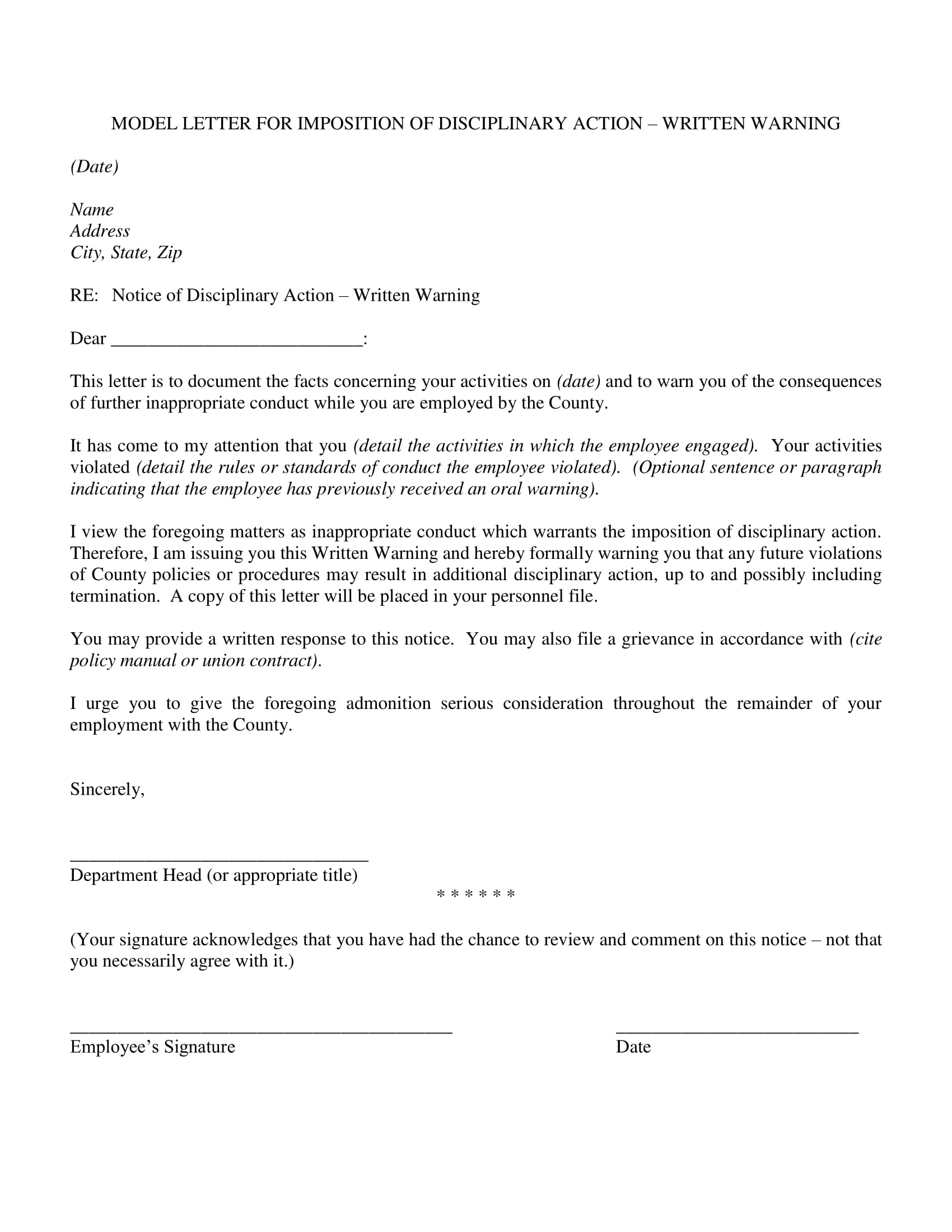 employee written warning letter for imposition of disciplinary action