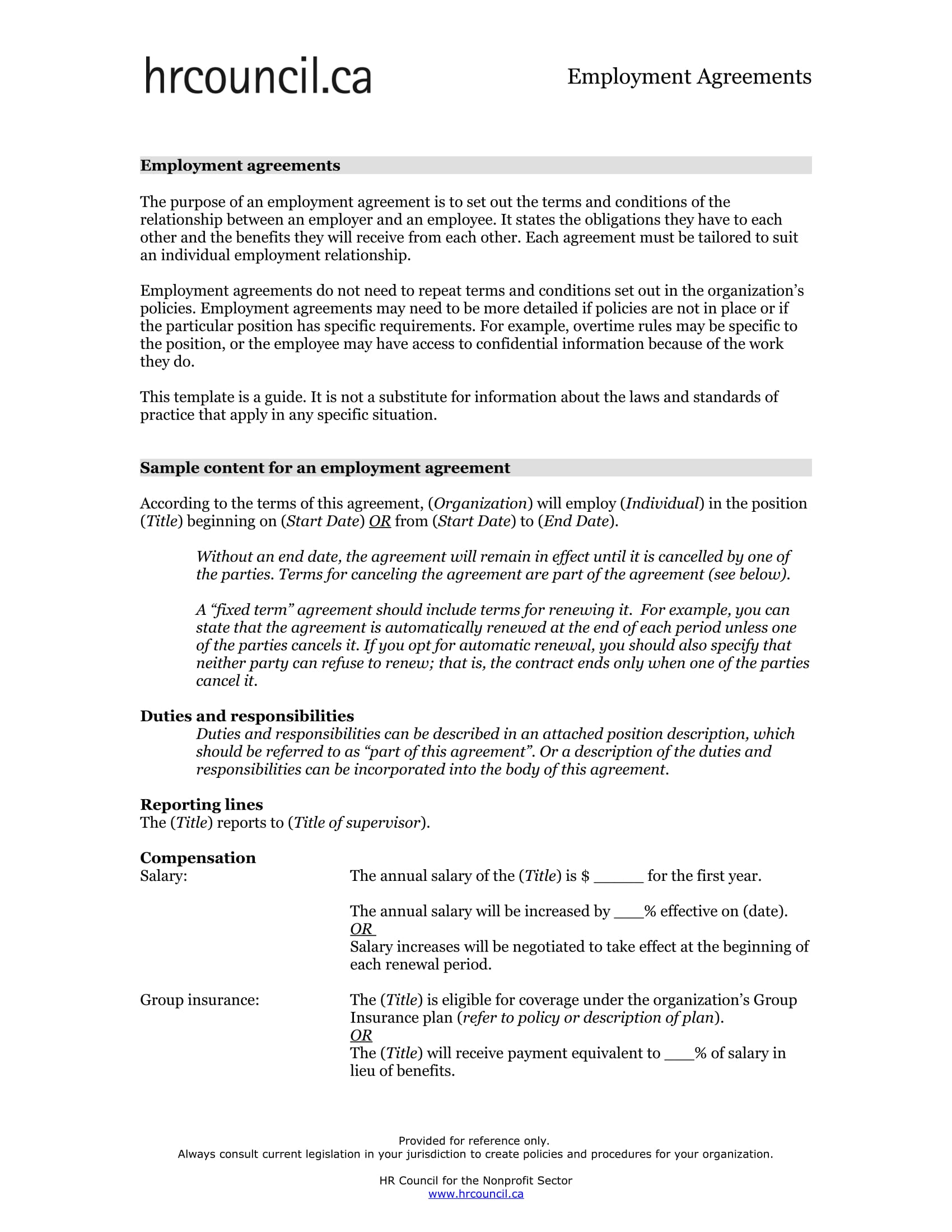 employment agreement template example
