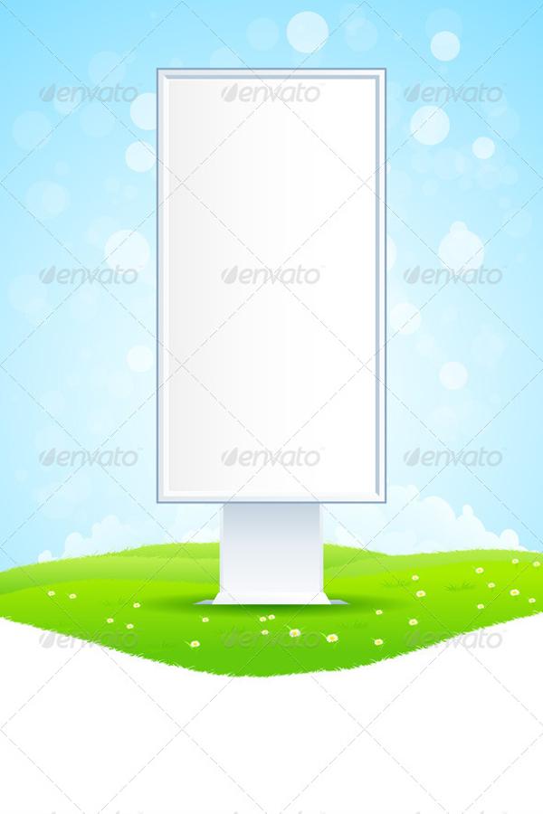 empty billboard on green landscape
