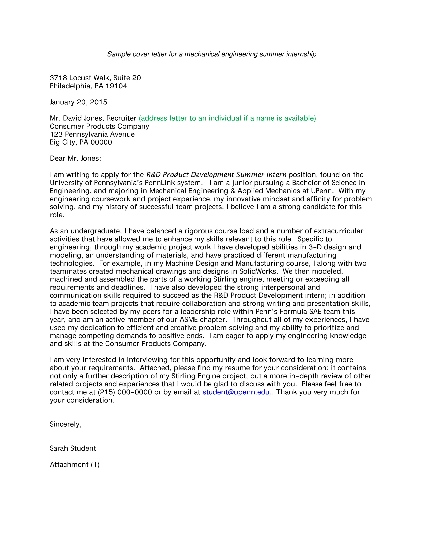 engineering sample internship cover letter 1