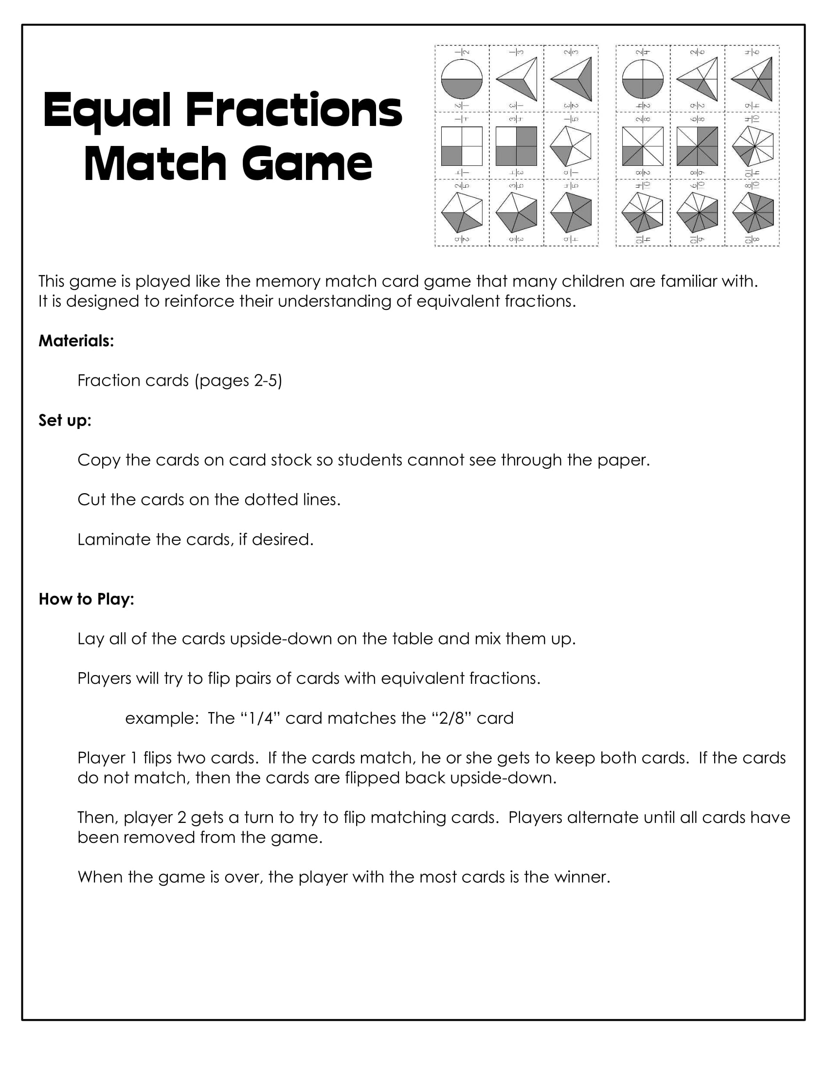 equal fractions match game sample worksheet