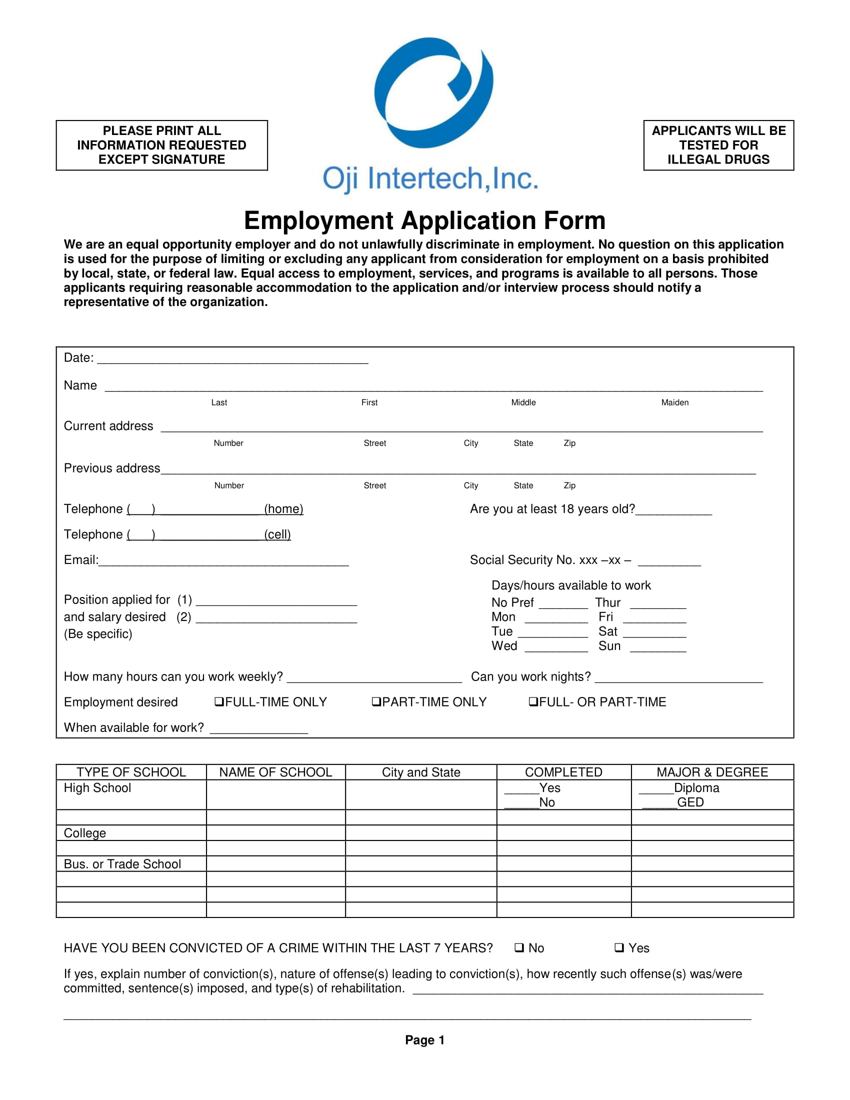 exampel employment application form