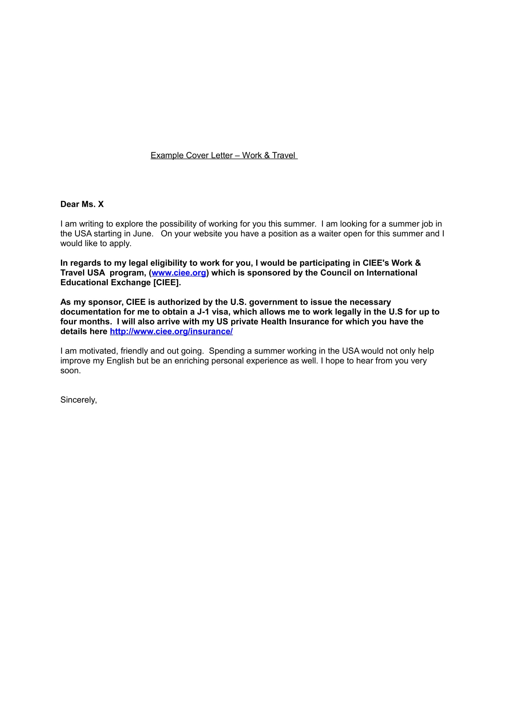 example cover letter work travel 1