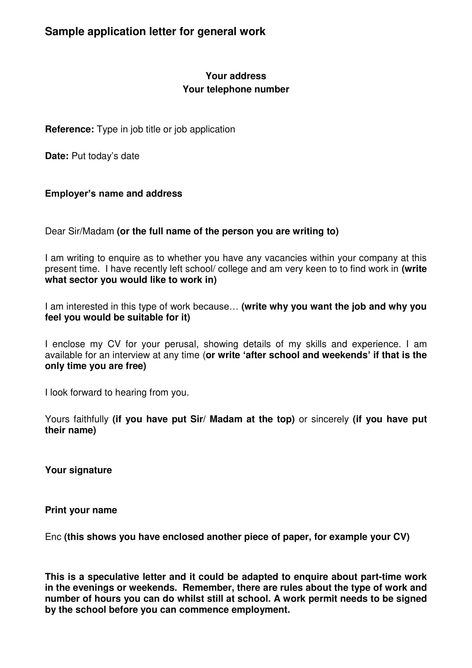example generic application letter 1