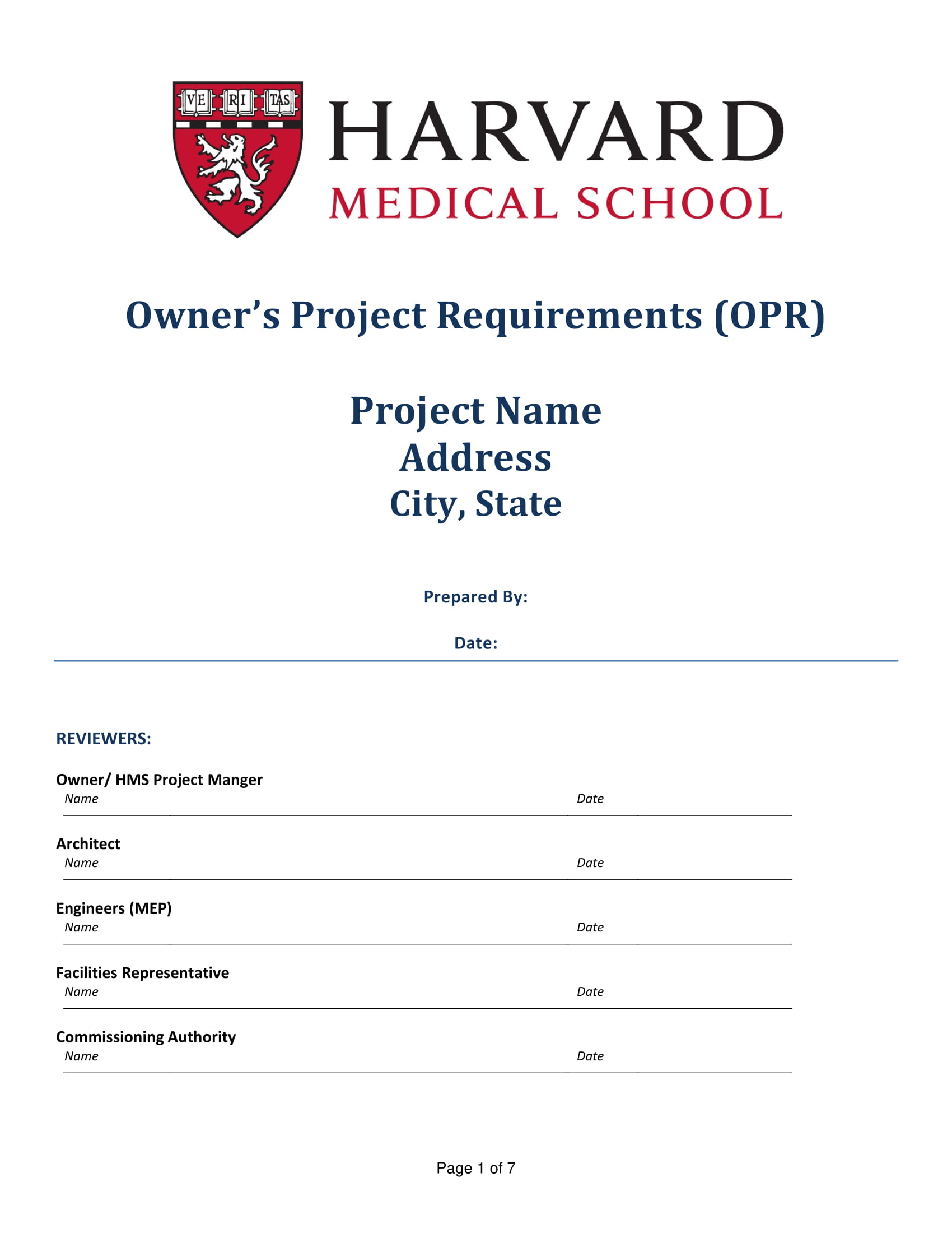 example of owners project requirement checklist