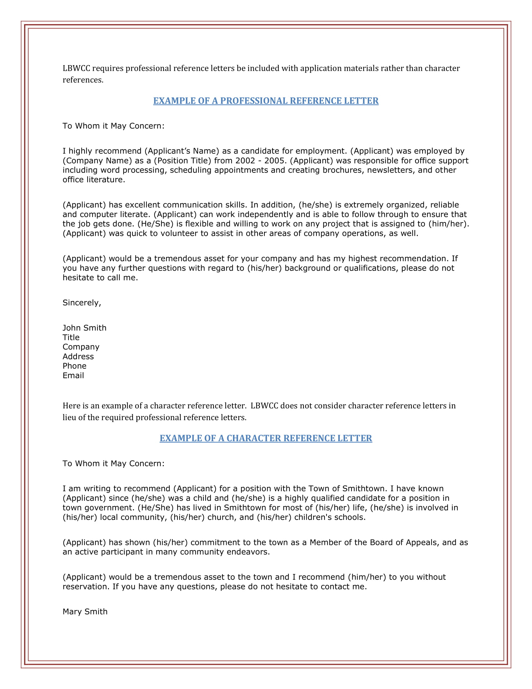 example of a professional reference letter