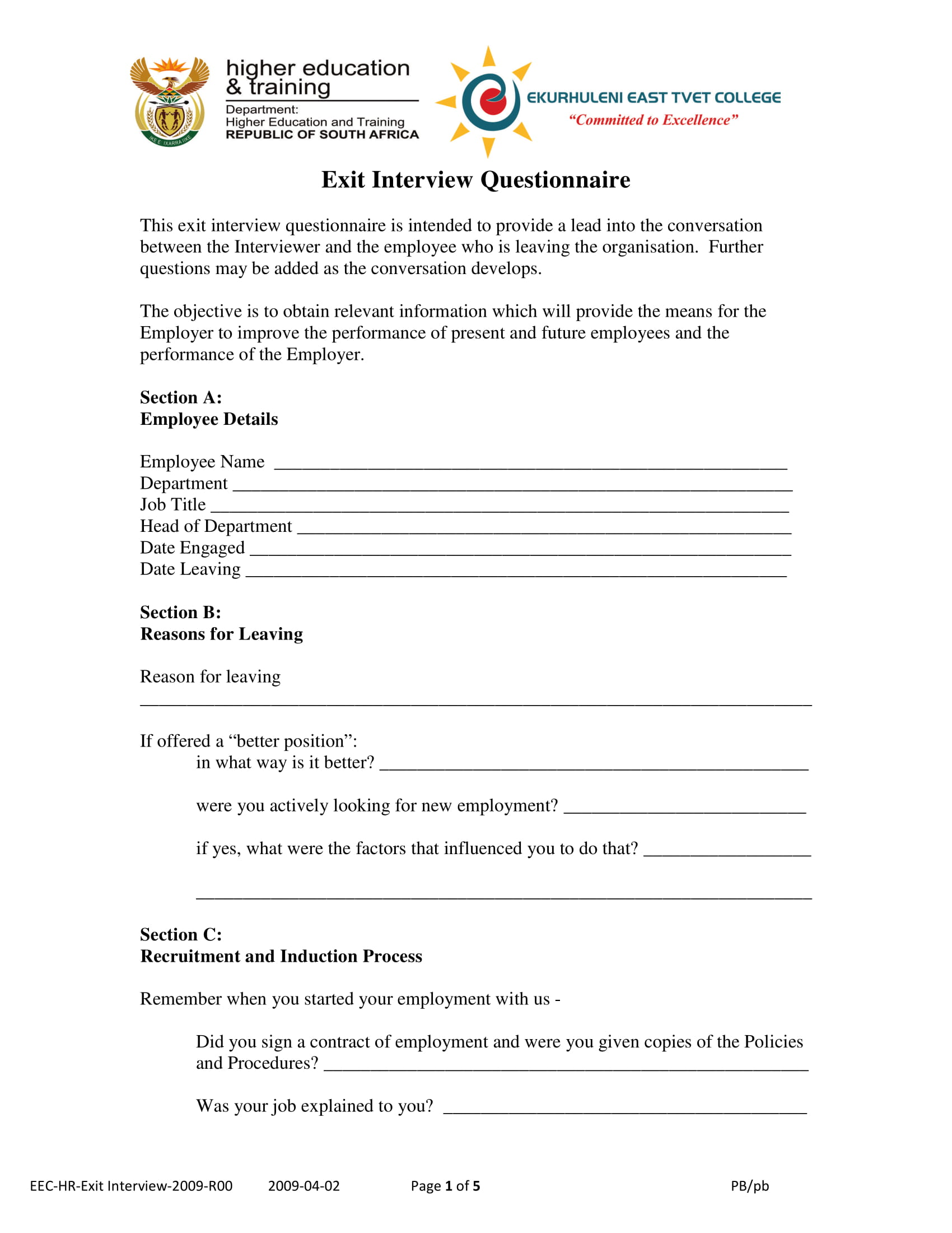 exit interview questionnaire form example