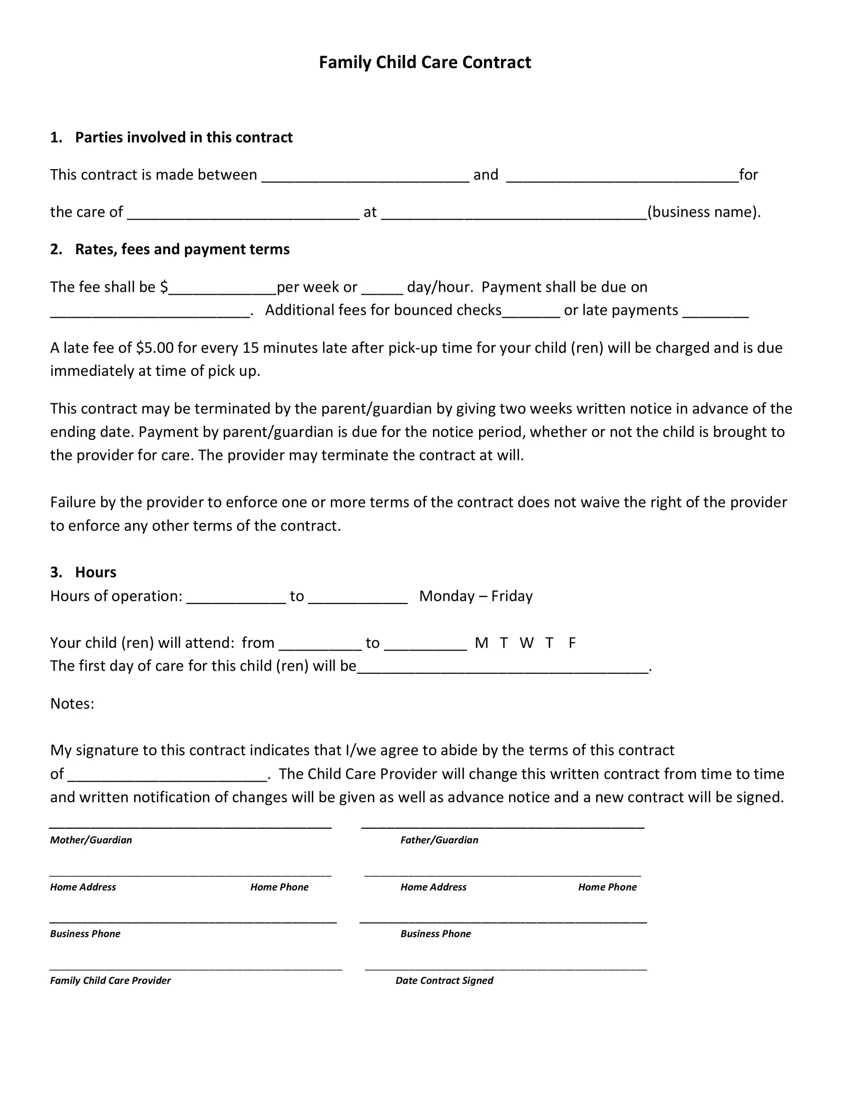 8  child care contract example templates