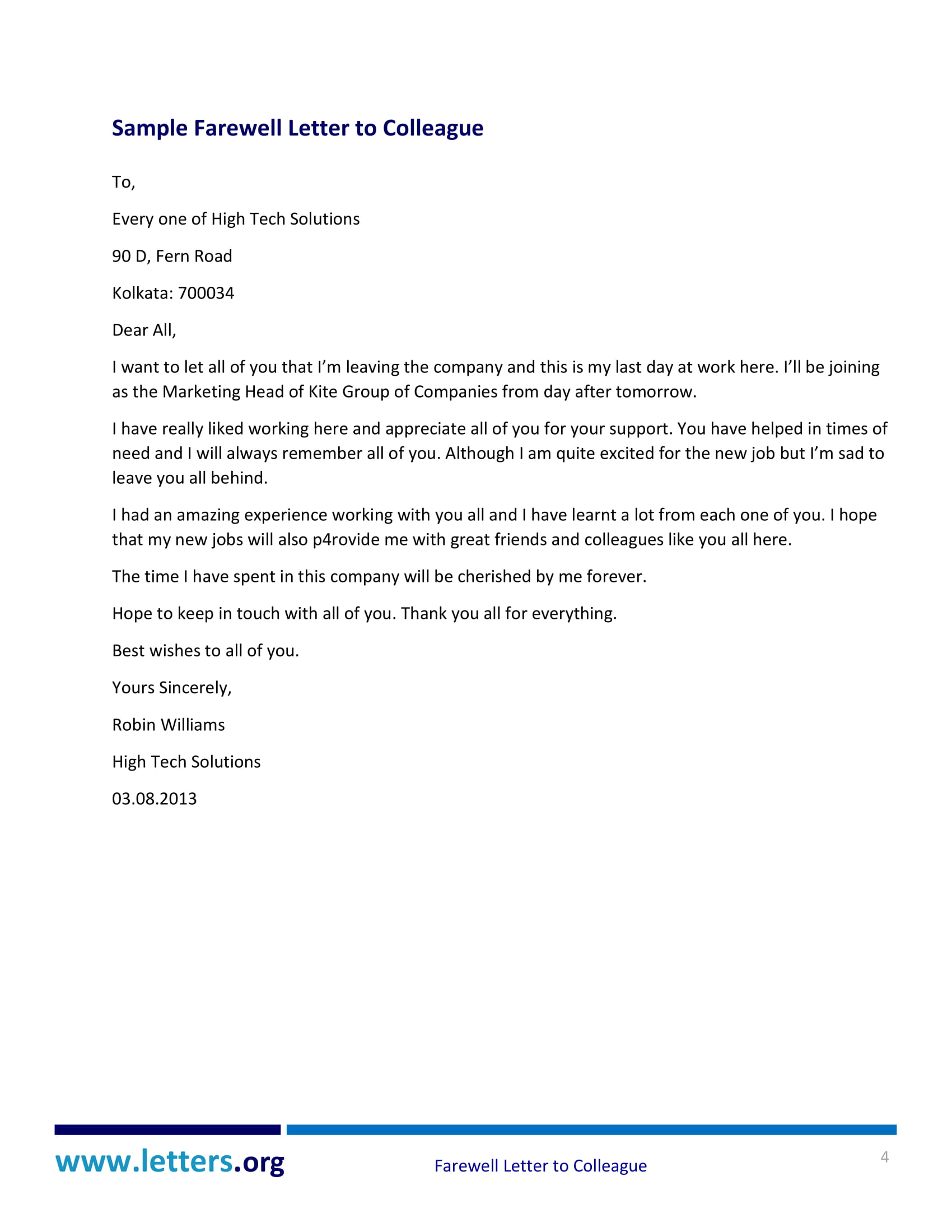 Writing A Touching Farewell Letter To Colleagues With Examples  Pdf