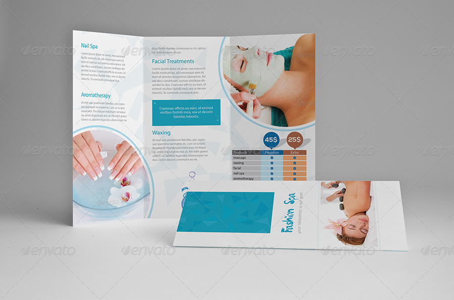 fashion spa clinic sample tri fold brochure example